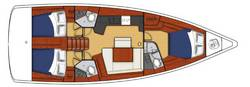 Layout Moorings 45.3 (Oceanis), 3 Kabinen