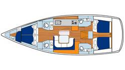 Layout Sunsail 51, 4 Kabinen